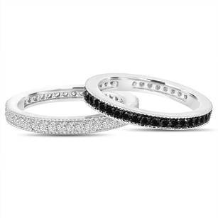 Fancy Black & White Diamond Eternity Wedding Bands 2 Stackable Eternity Rings Anniversary Ring 14k White Gold 0.90 Ct