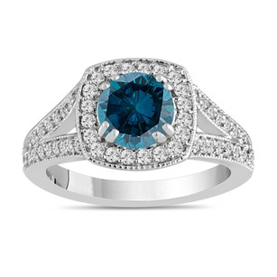 Fancy Blue Diamond Engagement Ring 1.57 Carat 14k White Gold Bridal Handmade Pave Halo