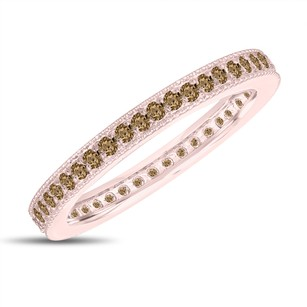 Fancy Champagne Brown Diamond Eternity Wedding Band Eternity Ring Anniversary Ring Stackable Ring 14k Rose Gold 0.45