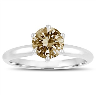 Platinum Fancy Champagne Brown Diamond Solitaire Engagement Ring 1.00 Carat Handmade Certified