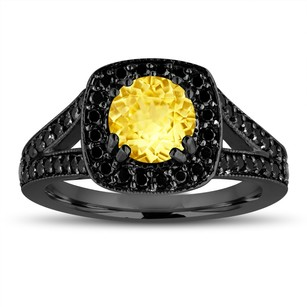 Yellow Sapphire Engagement Ring 14k Black Gold Vintage Style 1.92 Carat With Fancy Black Diamonds Unique Halo Pave