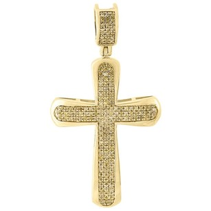 Jewelry For Less 10k Gold Canary Yellow Diamond Domed Cross Pendant Mens Pave Set Charm 0.42 Ct.