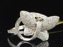 Jewelry For Less 10k Ladies White Gold Diamond Engagement Ring Butterfly Fashion Style Wedding