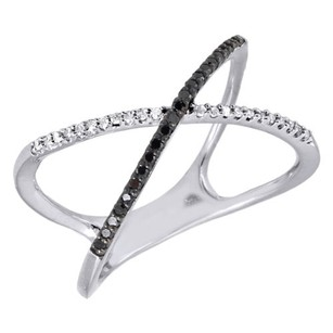10k White Gold Black Diamond Ladies Criss Cross Fashion Right Hand Ring 0.16 Ct