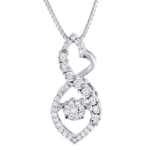 Jewelry For Less 10k White Gold Dancing Diamond Infinity Heart Slide Pendant Chain 0.23 Ct.