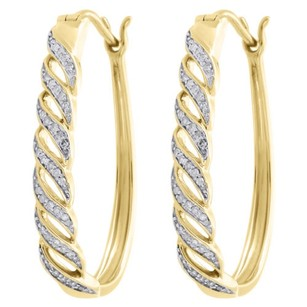 10k White Gold Diamond Hoops Braided Waved Hinged 4.35mm Earrings 0.20 Ct.