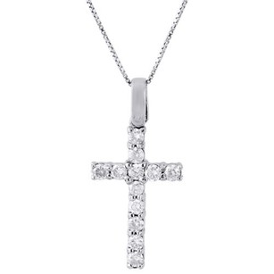 Jewelry For Less 10k White Gold Diamond Mini Cross Pendant Solitaire Round Cut Charm 0.50 Ct.