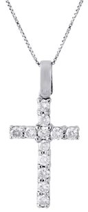 10k White Gold Diamond Mini Cross Pendant Solitaire Round Cut Charm 0.50 Ct.