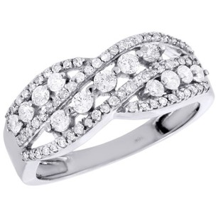 10k White Gold Genuine Diamond Crossover Band Right Hand Cocktail Ring 0.60 Ct.