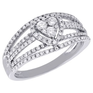 Other 10k White Gold Heart Shaped Diamond Fashion Cocktail Engagement Ring 0.48 Ct.