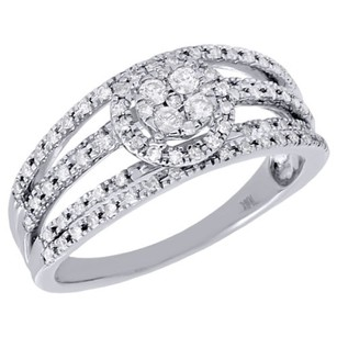Other 10k White Gold Round Cut Diamond Fashion Cocktail Halo Engagement Ring 0.33 Ct.