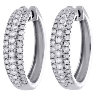 Other 10k White Gold Round Diamond Row 0.90 Circle Hinged Hoop Earrings 1 Ct.