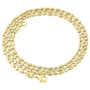 10k Yellow Gold 2mm Beaded Typhoon Moon Cut Italian Chain Necklace - Inch