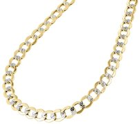 Jewelry For Less 10k Yellow Gold 6.5mm Hollow Cuban Curb Necklace Diamond Cut Pave Chain 20-30