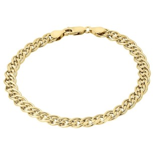 Jewelry For Less 10k Yellow Gold 6mm Double Cuban Curb Handmade Bracelet Mens Italian Link 8