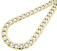 10k Yellow Gold Chiseled Cuban Curb Chain Dc Pave 10.75 Mm Necklace 22-30