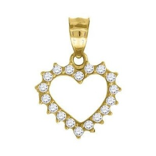 Jewelry For Less 10k Yellow Gold Cz Heart Pendant 0.90 Cut Out Charm
