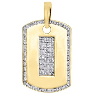 10k Yellow Gold Diamond Dog Tag Pendant 1.30 Mens Round Pave Charm 0.38 Ct.