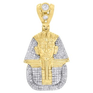 10k Yellow Gold Diamond Egyptian Pharaoh King Tut Pendant 1.70 Charm 1.50 Ct.