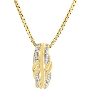 Jewelry For Less 10k Yellow Gold Diamond Ladies Curved Slide Fashion Pendant 18 Chain 0.06 Ct.