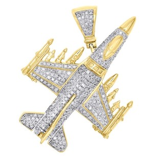 Jewelry For Less 10k Yellow Gold F-16 Fighting Falcon Military Jet Diamond Pendant Charm 1.60 Ct.
