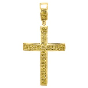 10k Yellow Gold Genuine Diamond Domed Cross Jesus Inch Pendant Charm 0.67 Ct.