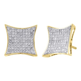 10k Yellow Gold Genuine Diamond Kite Studs Pave Set 13.15mm Earrings 0.50 Ct.