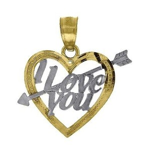 Jewelry For Less 10k Yellow Gold I Love You Arrow Heart Pendant 0.75 Cut Out Charm