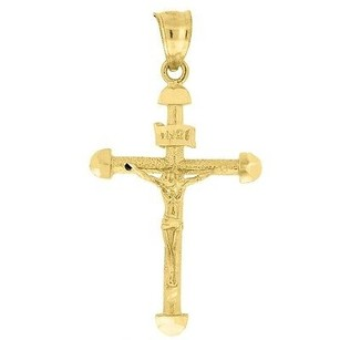 Jewelry For Less 10k Yellow Gold Inri Crucifix Diamond Cut Cross Pendant 1.55 Textured Charm