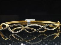 Jewelry For Less 10k Yellow Gold Ladies Infinity Round Diamond Bangle Bracelet 6.50 0.39 Ct 10mm