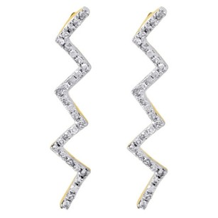 Other 10k Yellow Gold Ladies Round Diamond Dangle Zig Zag Lightning Earrings 0.17 Ct.