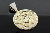 Jewelry For Less 10k Yellow Gold Mens Diamond Mini Medusa Head Piece Greek Pendant Charm 0.75 Ct.