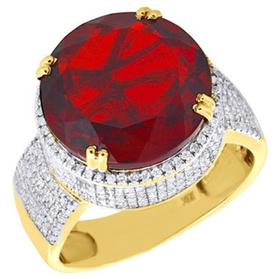 Jewelry For Less 10k Yellow Gold Mens Diamond Royal Red Gemstone Fashion Pinky Ring Pave 1 Ct.