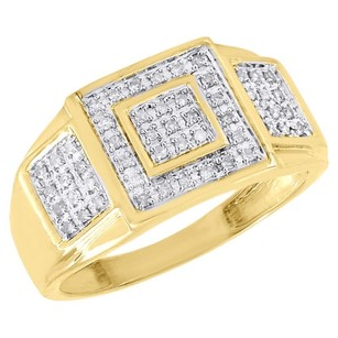 Other 10k Yellow Gold Mens Round Cut Diamond Pinky Ring Pave Fashion Band 0.25 Ct.