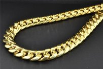 Jewelry For Less 10k Yellow Gold Miami Cuban Semi Hollow 12.50mm Wide Chain 34 Necklace