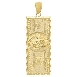 Other 10k Yellow Gold One Hundred Dollar Bill Currency Diamond Cut 1.85 Pendant Charm