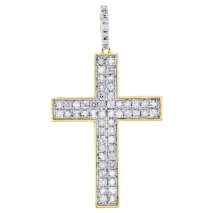 Jewelry For Less 10k Yellow Gold Real Diamond Cross Pendant 1.65 Mens Two Row Pave Charm 1.06 Ct