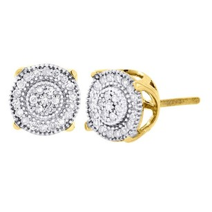 Jewelry For Less 10k Yellow Gold Round Cut Diamond Prong Pave Studs 8.25mm Earrings 0.50 Ct.