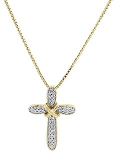 10k Yellow Gold Round Diamond Cross Pendant Religious Charm With Chain .16 Ct