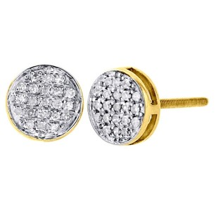 Other 10k Yellow Gold Round Diamond Flat Circle Pave Studs 7.50mm Earrings 0.20 Ct.