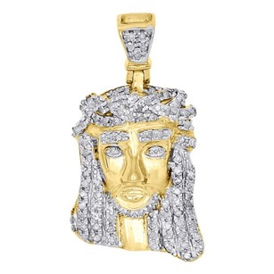 Jewelry For Less 10k Yellow Gold Round Diamond Mini Jesus Piece Pendant Mens Pave Charm 0.40 Ct.