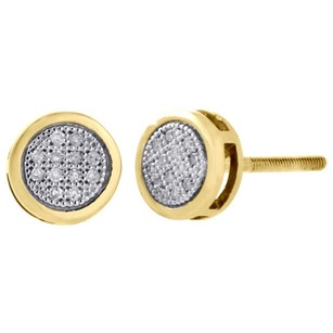 Jewelry For Less 10k Yellow Gold Round Diamond Pave 6.4mm Mini Circle Stud Earrings 0.05 Ct.