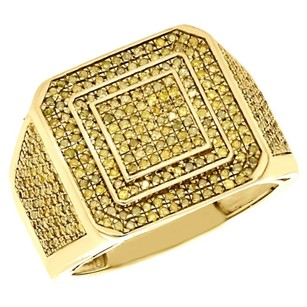 Jewelry For Less 10k Yellow Gold Round Genuine Yellow Diamond Wide Signet Style Pinky Ring 1 Ct.