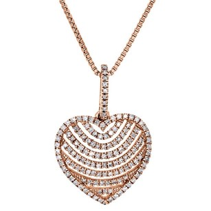 Jewelry For Less 14k Rose Gold Ladies Diamond Heart Pendant Round Cut Prong Set Charm 0.36 Ct.