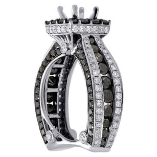 Jewelry For Less 14k White Gold Black Diamond Solitaire Semi Mount Halo Engagement Ring 4.38 Ct.