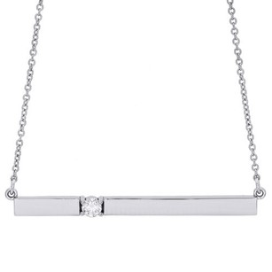14k White Gold Rectangular Diamond Bar Pendant Necklace 16 Cable Chain 0.10 Ct.