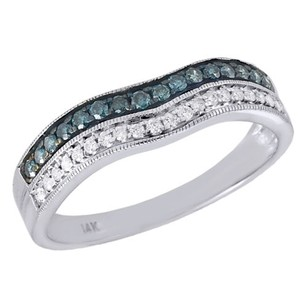 Jewelry For Less 14k White Gold Round Blue Diamond Anniversary Ring Contour Wedding Band 0.25 Ct.