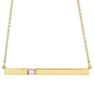 14k Yellow Gold Rectangular Diamond Bar Pendant Necklace 16 Cable Chain 0.10 Ct