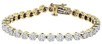 14k Yellow Gold Round Diamond Flower Set Solitaire Look 7 Tennis Bracelet Ct.