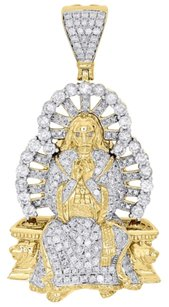 14k Yellow Gold Round Diamond Jesus Praying Throne Pendant 2.30 Charm 4.29 Ct.